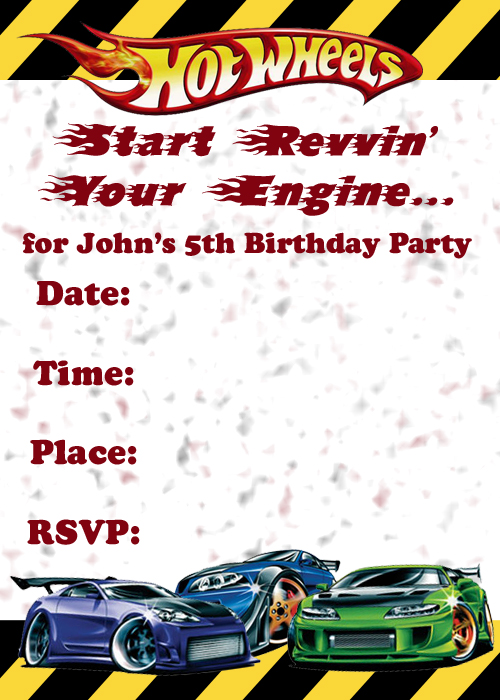 Hot Wheels Birthday Invitation with amazing invitations example